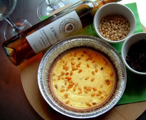 A dessert tort / Fresh Ricotta Cheese baked with raisins pinenuts spiced with passito wine.